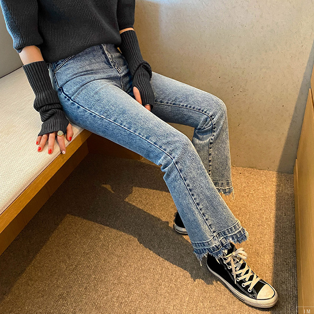 Frayed Hem Washed Bootcut Jeans
