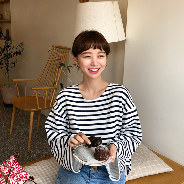 Wide Sleeve Striped T-Shirt