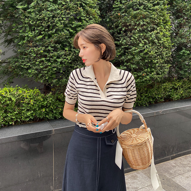 Striped Short Sleeve Collared Knit Top