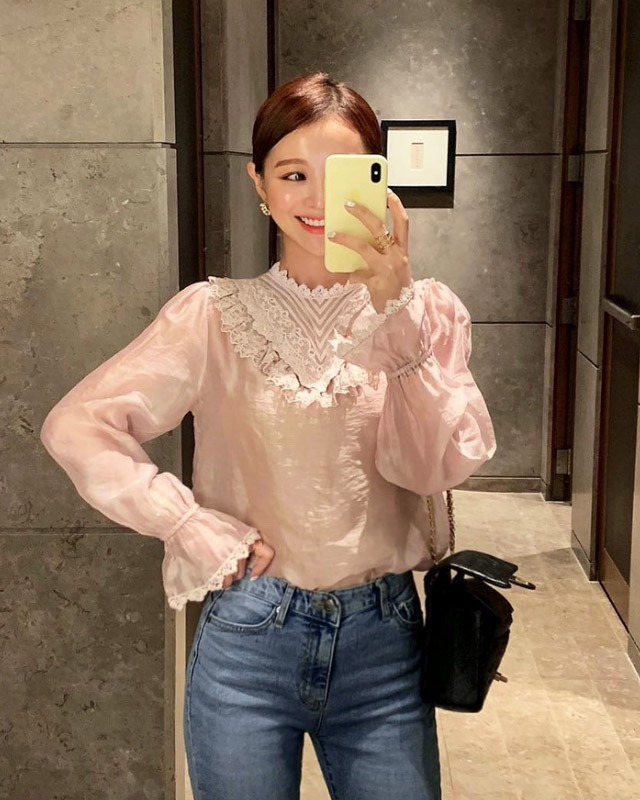 Lace Yoke Semi-Sheer Blouse