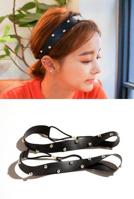 Metal Studs Leather Headband
