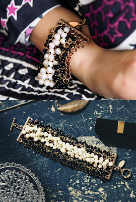 Two-Tone Pearl Beaded Bangle