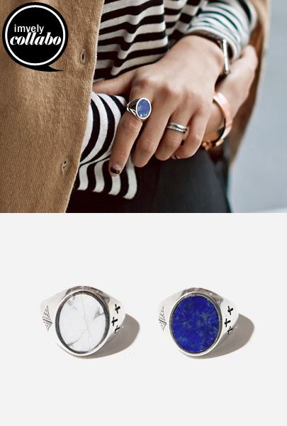 [IMVELY X IMFRICA] Faceted Stone Sterling Silver Ring