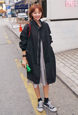 Oversized Long Zip Up Jacket