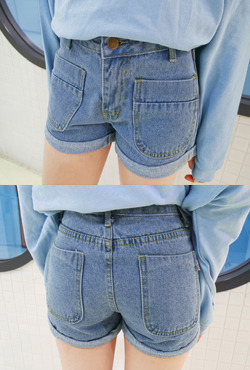 Rolled Cuffs Denim Shorts