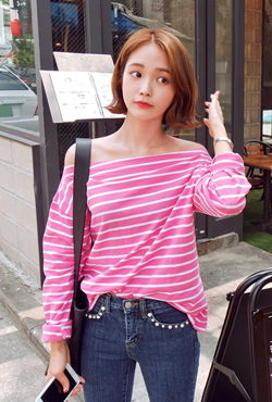 Striped Off-Shoulder T-Shirt