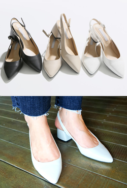 Block Heeled Slingback Pumps