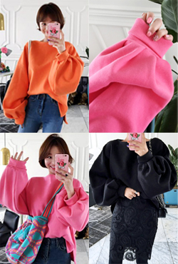 Fleeced Balloon Sleeve Pullover
