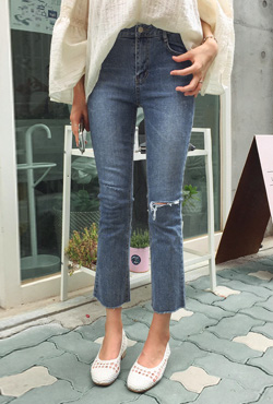 Sliced Boot Cut Cropped Jeans