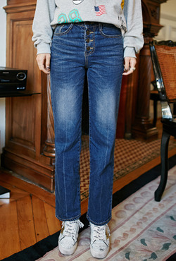 Four-Button Straight Leg Jeans