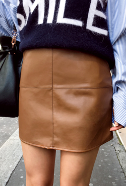 Faux Leather H-Line Skirt