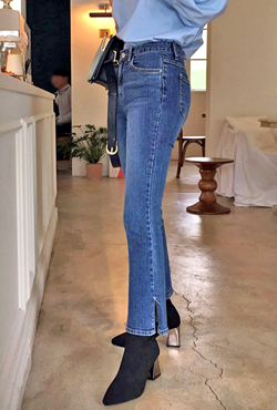 Slit Hem Whiskered Bootcut Jeans
