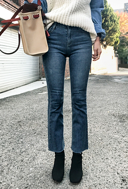Whisker Wash Raw Hem Bootcut Jeans