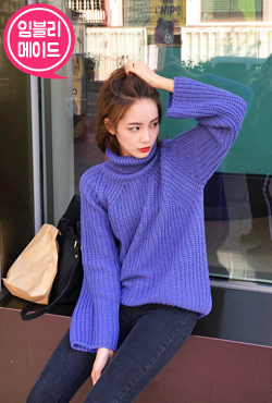 Turtleneck Loose Waffle Knit Sweater