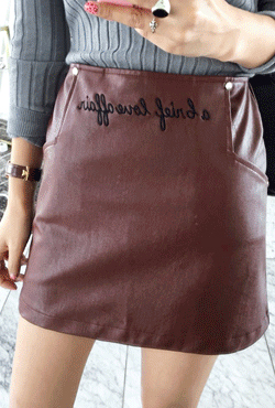 Script-Embroired Pleather Skirt