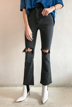 Slashed Bootcut Jeans