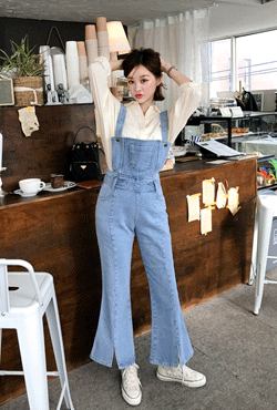 Flared Leg Denim Overalls