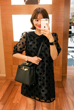 Polka Dot Sheer Overlay Dress