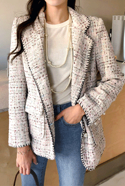 Faux Pearl Button Tweed Jacket