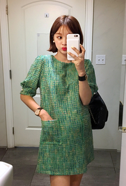 Puff Sleeve Shift Tweed Dress