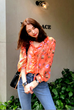 Frill Trimmed Floral Blouse