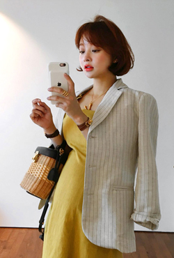 Pinstripe Notch Collar Single-Breasted Blazer