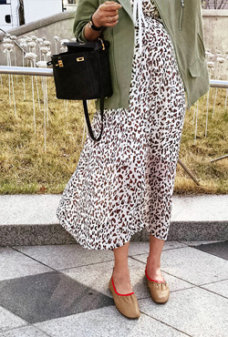 Leopard Print Long Sleeveless Dress