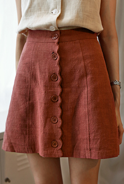 Button-Front A-Line Wrap Skirt