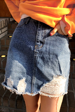 Distressed H-Line Denim Skirt