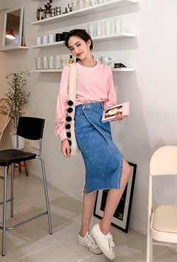 Asymmetric Hem Denim Wrap Skirt