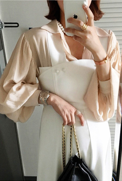 Pointed Collar Button-Front Blouse