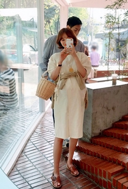 Tie-Waist Wrap Linen Dress