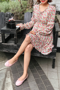 Frill Trim Floral Print Dress