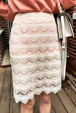 Uneven Hem Straight Cut Lace Skirt