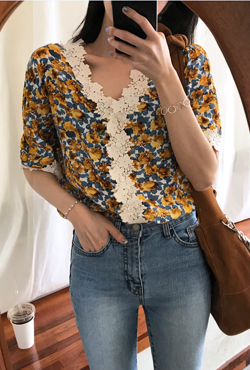Lace-Trimmed Floral Blouse