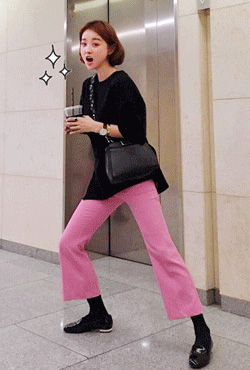 Pink Boot Cut Slacks