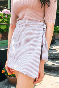 Wrap Striped Side Tie Skort