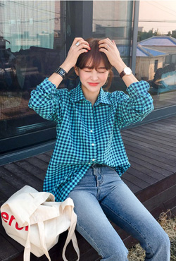 Gingham Check Pocket Boyfriend Shirt