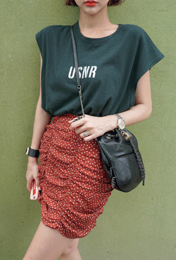 Printed Ruched Skirt