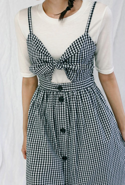 Gingham Check Cutout Detail Dress