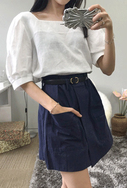 Half-Sleeved Square Neck Blouse