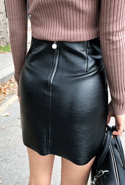 Faux Leather Two Pocket Skirt