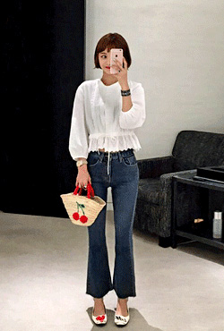 Frayed Hem Bell Bottom Jeans