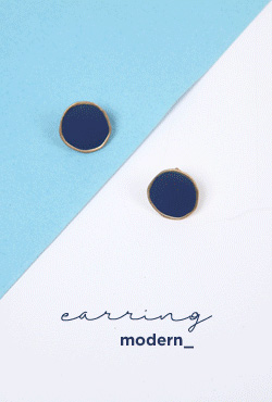 Blue Disc Stud Earrings