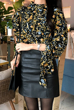 Draped Cuff Floral Blouse