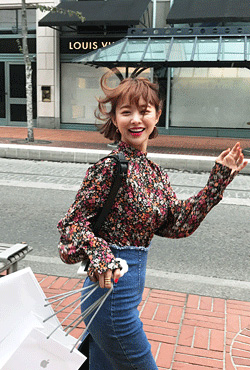 Floral Print High Neck Blouse
