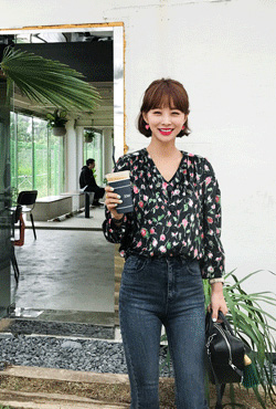 Floral V-Neck Button Down Blouse