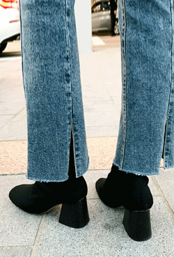Slit Hem Distressed Bootcut Jeans