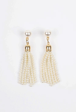 Faux Pearl Tassel Dangle Earrings