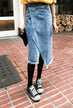 Raw Hem Asymmetric Denim Skirt